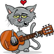 cat in love cartoon illustration - stock illustration