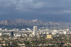 storm clouds over hollywood - stock photo