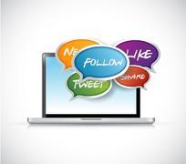 laptop social media communication - stock illustration