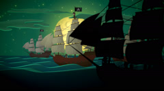 Pirate Ships Rowing In Sea Danger Stock Footage