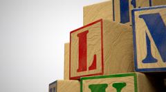 Wooden Blocks Word Kids School Educate Alphabet Stock Footage