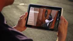 Monitor Home Security with Tablet PC - stock footage