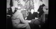 Cordell Hull talking to Diplomats in office Stock Footage