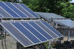 Solar panels for renewable energy production Stock Photos