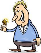Lucky man with golden coin cartoon Stock Illustration