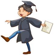 Stock Illustration of A happy man graduating