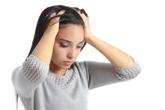 Arab woman worried with the hands in the head - stock photo