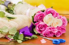 Making a special rose bouquet Stock Photos