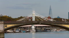 Battersea Bridge real time mid shot 4K Stock Footage