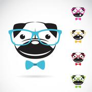 Vector images of pug dog wearing glasses Piirros