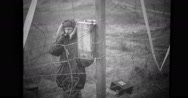 Military soldier talking on telephone Stock Footage