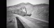 Railroad car decorated with flags and loaded with Chinese prisoners Stock Footage
