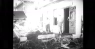 Woman cleaning house after the floods Stock Footage