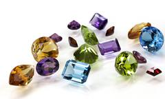 Pile of Assorted Gemstones Stock Photos