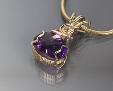 Wire Wrapped Amethyst Pendant Stock Photos