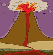 Volcano Cross Section Stock Illustration