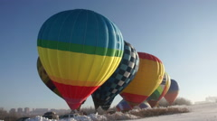 Colorful hot air balloons before starting Stock Footage