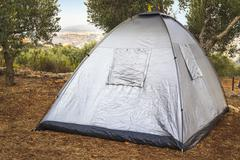 Camping tent between olive trees in the galil Stock Photos
