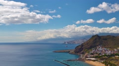 Landscape, coast and beach Las Teresitas view, Tenerife, time-lapse, zoom out. Stock Footage