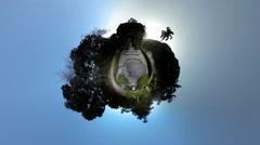 World of tropical botanical garden, people enjoying sunset Stock Footage