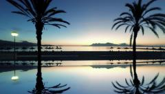 Silhouette of palm trees at sunrise. aerial view of beach. reflection background Stock Footage