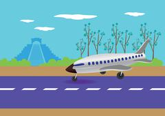 Airplane landing in mexico vector illustration Stock Illustration