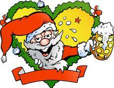 hand-drawn vector illustration of an drunk santa - stock illustration