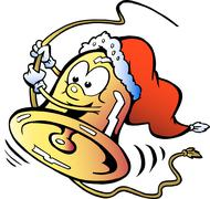 Hand-drawn vector illustration of an happy swinging christmas bell Stock Illustration