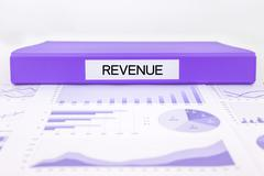 Revenue documents, graph analysis and financial report Stock Photos