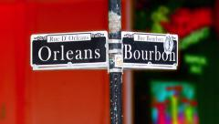 New Orleans Bourbon Street Sign with Vibrant Colors Stock Footage