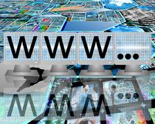 Www on screens of monitors Stock Illustration