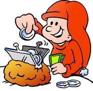 Hand-drawn vector illustration of an happy christmas elf saving money Stock Illustration