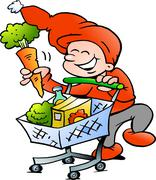 hand-drawn vector illustration of an happy christmas elf on shopping tour - stock illustration