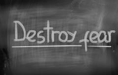 destroy fear concept - stock illustration