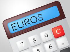 Stock Illustration of euros calculator showing trading earnings and calculate