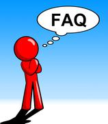Character thinking faq meaning frequently asked questions and help Stock Illustration