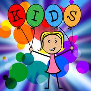 kids balloons indicating young woman and youngster - stock illustration