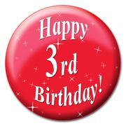 Happy third birthday indicating congratulating happiness and congratulations Stock Illustration
