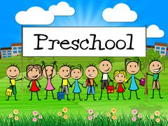 preschool kids banner represents childrens toddlers and childhood - stock illustration