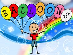 Balloons boy indicating child celebration and youngster Stock Illustration