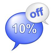 ten percent off representing discount offer and promotional - stock illustration