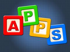 apps kids blocks representing application software and youngster - stock illustration