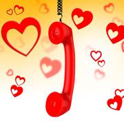 romantic call showing chat communicating and discussion - stock illustration