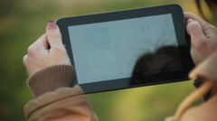 Woman's hand work with tablet Stock Footage