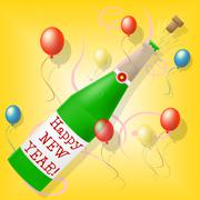 Stock Illustration of happy new year showing new-year celebration and celebrate