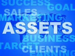 Assets words shows wealth valuables and goods Stock Illustration