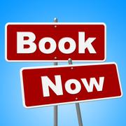 Book now signs showing at this time and reserve Stock Illustration