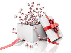 Stock Photo of Render of a white gift box with a red ribbon throwing little gift boxes