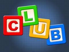 Club kids blocks showing childhood group and child Stock Illustration