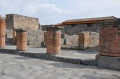 Forum had tiles of limestone block - stock photo